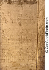 reliefs at theTemple of Edfu in Egypt