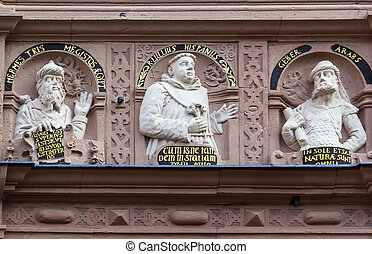 Apothecary Oriel in the city of Lemgo, Germany - reliefs on...