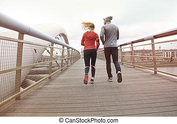 relier, gens, style de vie, activité, sain, physique