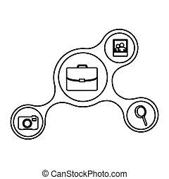relier, icônes, réseau, ligne