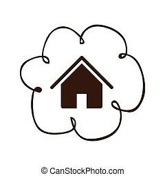 relier, nuage, service, icône