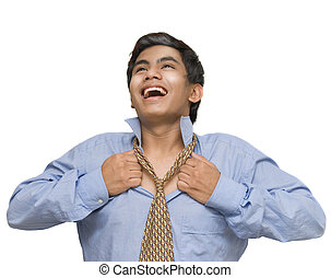 Relieved businessman breathing - Young Indian or Asian...