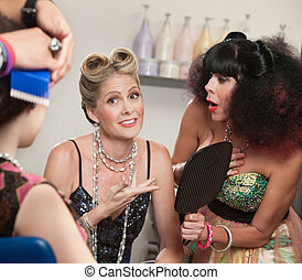 Relieved Lady and Friend in Hair Salon - Relieved woman with...
