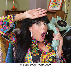 Relieved Lady on Telephone - Relieved woman in paisley on...
