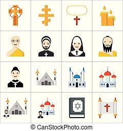 religião, ícones, jogo, vetorial