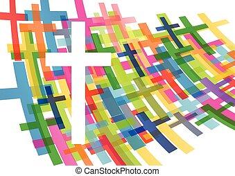 religião, conceito, crucifixos, cristianismo