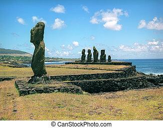 religião, escultura, ligado, ilha páscoa