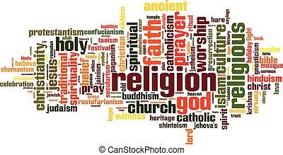 religião, palavra, nuvem