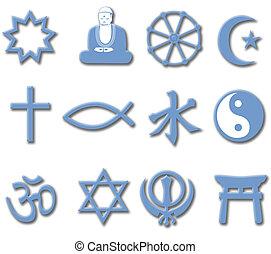 religião, símbolo, jogo, 3d, principal, religiões mundiais
