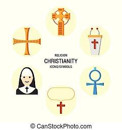 religião, vetorial, jogo, ícones
