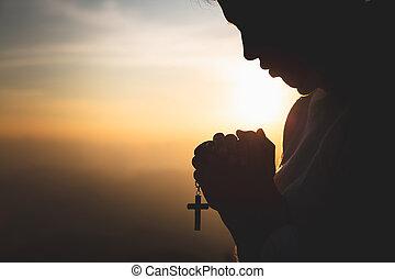 religión, conceptos, rezando, religioso, mujer, joven, dios,...