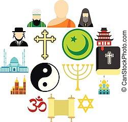 religión, conjunto, plano, iconos