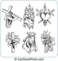 religión, cristiano, vector, -, illustration.