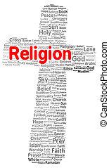 religión, forma, palabra, nube