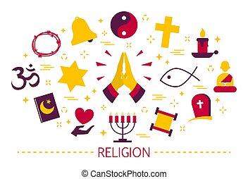 religión, icono, islam, set., judío, cruz, buddhism., ...