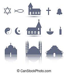 religión, iconos, conjunto