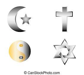 religión, iconos, vector, brillante, illust