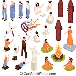religión, isométrico, colección, iconos