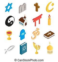 religión, isométrico, conjunto, 3d, iconos