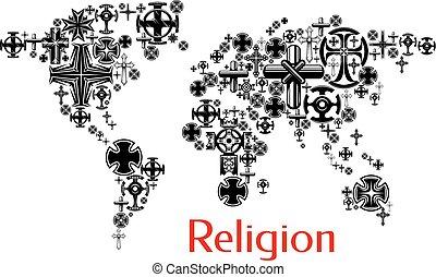 religión, mapa del mundo, con, cristianismo, cruz, símbolos