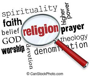 religión, palabra, lupa, dios, espiritualidad, fe, creencia