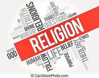 religión, palabra, nube, collage