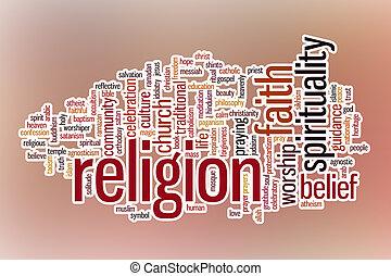 religión, palabra, nube, con, resumen, plano de fondo