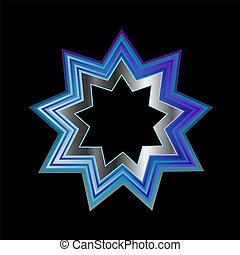 religión, puntiagudo, nueve, bahai, symbol-