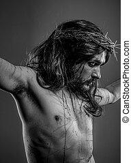 religión, representación, de, christ de jesus sobre la cruz