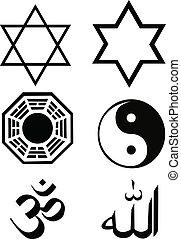 religión, símbolo, vector, conjunto