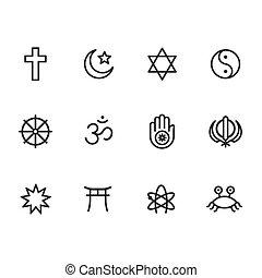 religión, símbolos, icono, conjunto
