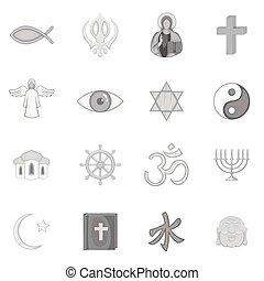 religión, símbolos, iconos, conjunto