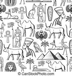 religión, seamless, patrón, viaje, egipto