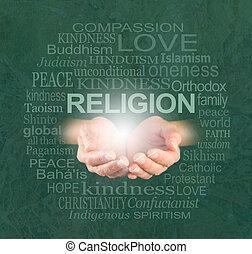 religión, solamente, amabilidad, verdadero