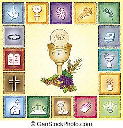 religión, tarjeta