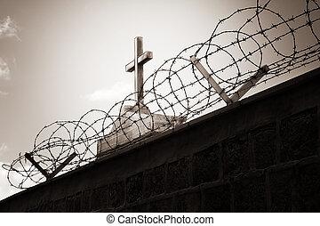 religión, y, guerra, -, cruz, atrás, alambre de púa