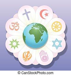 religiões, paz, unidas, flor, mundo