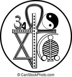 religiões, universal, símbolo