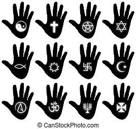 religiös, hand, symboler