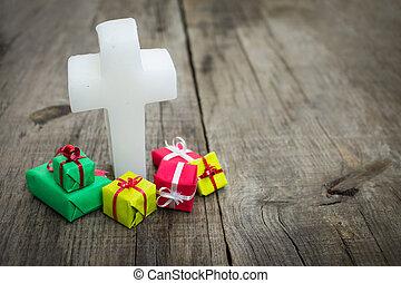 religiöses, kreuz, mit, geschenke