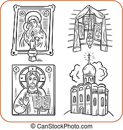 religie, vector, -, illustration., orthodox