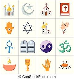 religie, vector, set, iconen