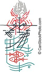 religieus, christen, symbolen, inkt, illustratie