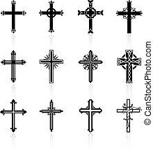 religieus, kruis, ontwerp, verzameling