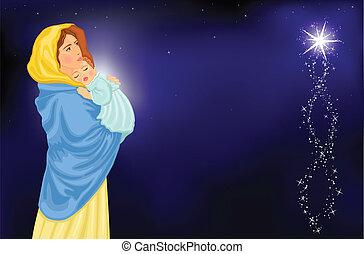 religieus, -, maria, kerstmis, kind