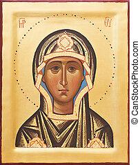 religieus, orthodox, pictogram, van, de, god, moeder
