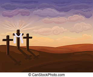 religieus, pasen, -, golgotha, heuvels