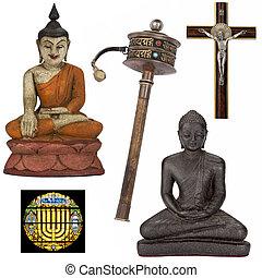 religieus, voorwerpen, voor, cutout, -, vrijstaand