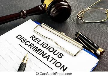 religieux, discrimination, réclamation, et, stylo, sur, a, table.