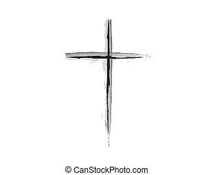 religijny, krzyż, grunge, projektować, b & w